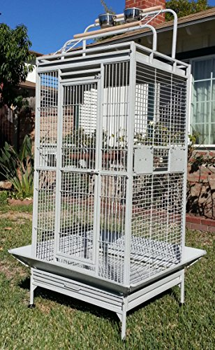Large Wrought Iron Open/Close Play Top With Double Ladders Bird Parrot Cage, Include Metal Seed Guard and Play Top *White Vein* by Mcage