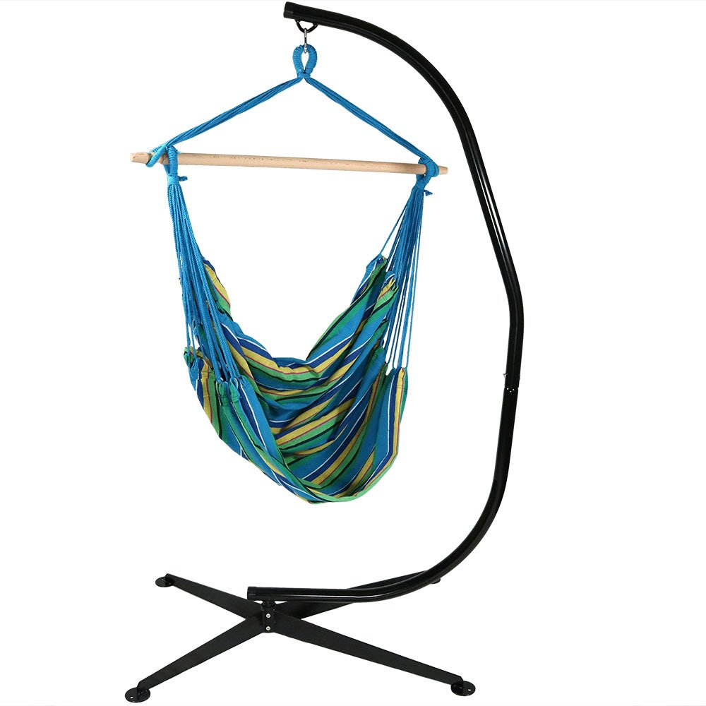Sunnydaze Jumbo Extra Large Hanging Hammock Chair Swing with C-Stand, Indoor/Outdoor Use, 300-Pound Weight Capacity, Ocean Breeze