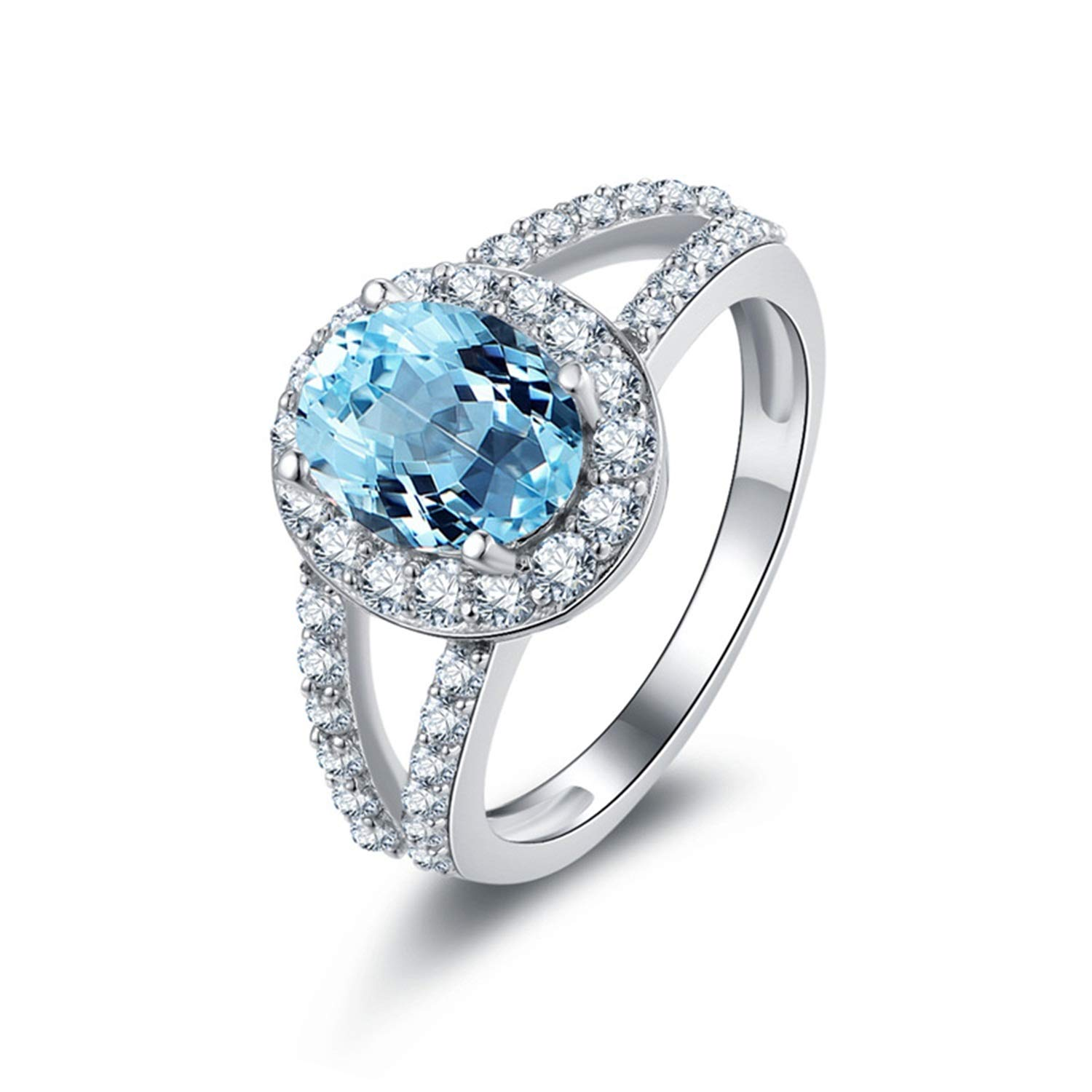 AMDXD Jewelry 925 Sterling Silver Ring for Women Blue Oval Cut Topaz Oval Rings