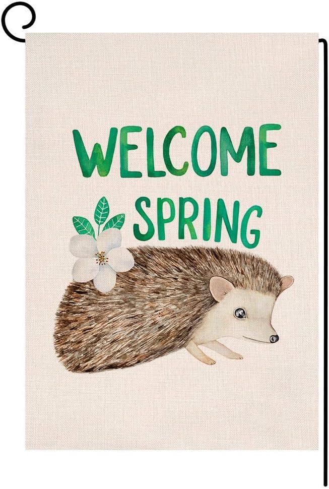 Welcome Spring Hedgehog Garden Flag Vertical Double Sided Farmhouse Burlap Yard Outdoor Decor 12.5 x 18 Inches