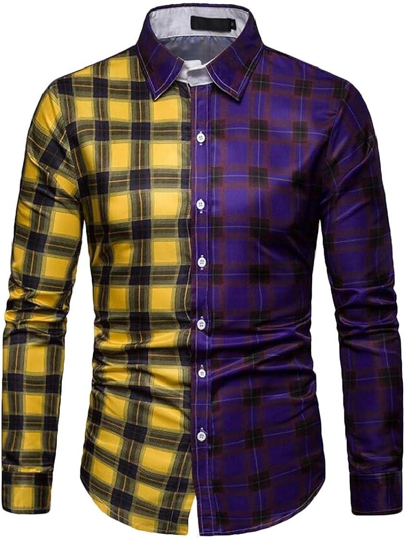 YYear Mens Fashion Color Block Plaid Check Buttons Business Dress Shirts