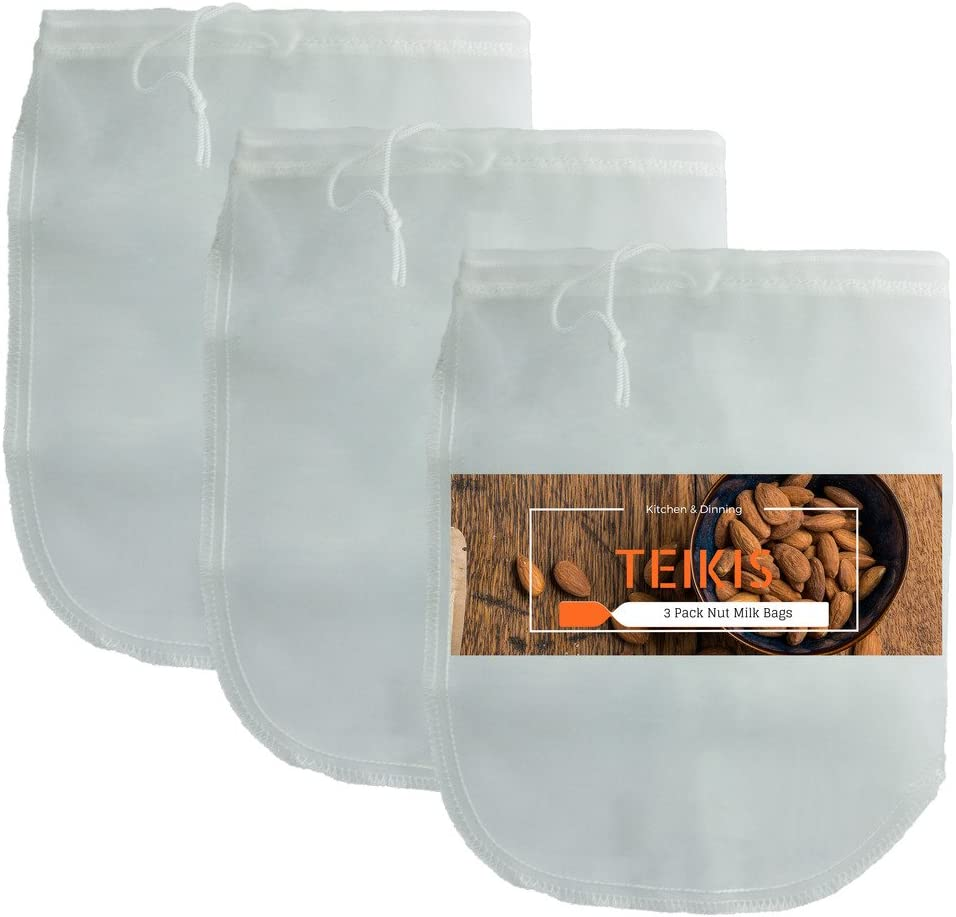 Teikis 3 Pack Durable Reusable Fine Mesh Nut Milk Bags Filter for Strainer Cold Brew Coffee