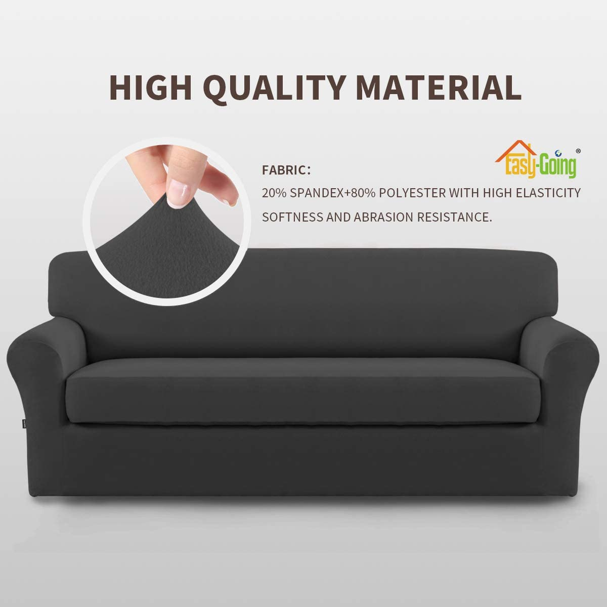 Easy-Going 2 Pieces Microfiber Stretch Sofa Slipcover – Spandex Soft Fitted Sofa Couch Cover, Washable Furniture Protector with Elastic Bottom for Kids,Pet (Sofa,Gray): Home & Kitchen