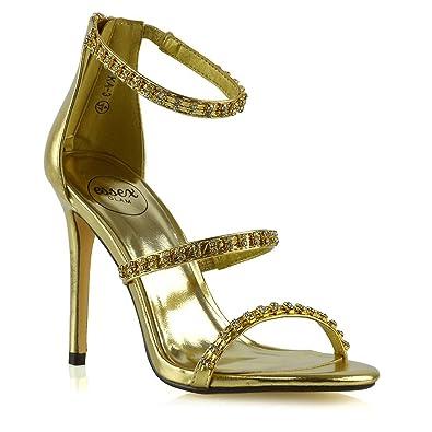 38 EU, Silber Metallisch Damen Sandalen ESSEX GLAM Damen Stilett Fesselriemen Sandalen Frau Hoher Absatz Braut Party Schuhe