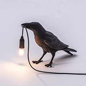 mjuio Crow Wall Lamps & Sconces,Bird Desk Lamps Table Light, Resin Crow Bird Wall Lamp Table lamp Lights for Bedroom Bedside Living Room Wall Sconce Light Home Decor Lamp Night Light,Black/White