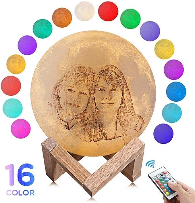 Personalisiertes Foto 3D Mond Lampe Zwei Farbtöne