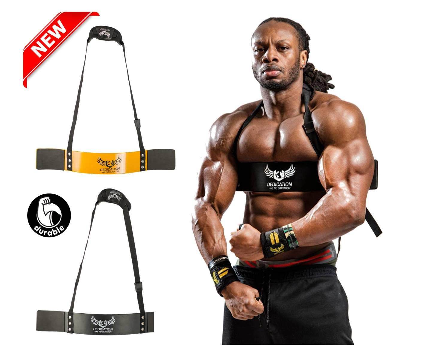 U APPAREL Arm Blaster by Ulisses Jr Premium Bicep Curl Support Isolator Heavy Duty Adjustable Bodybuilding Gym Curling Biceps Bomber Straps Pro Isolation Fitness for Arm Size /& Strength