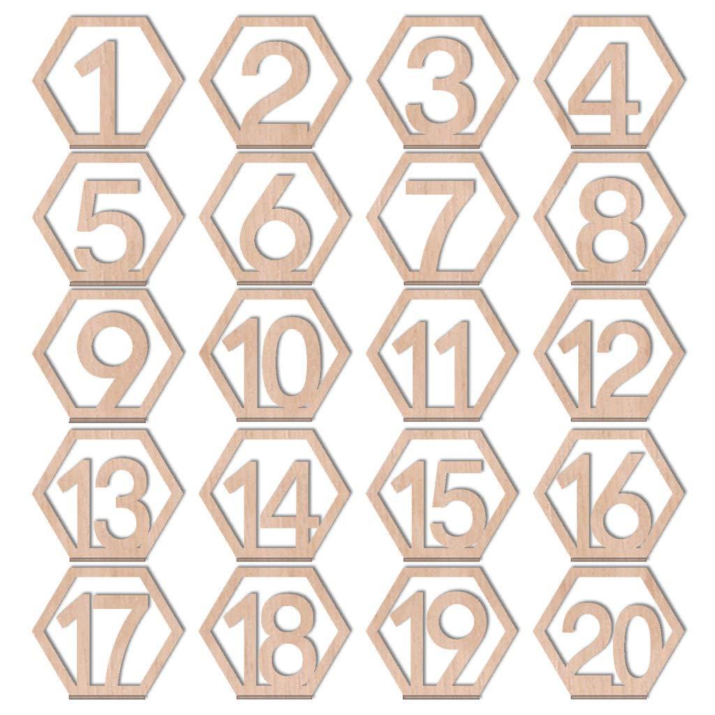 CUEYU 20pcs(1-20) Numéro de Marque Table, pour Deco Table Mariage Vintage,Restaurant, Club, café, 11x10cm Epaisseur de la Plaque 0.3cm