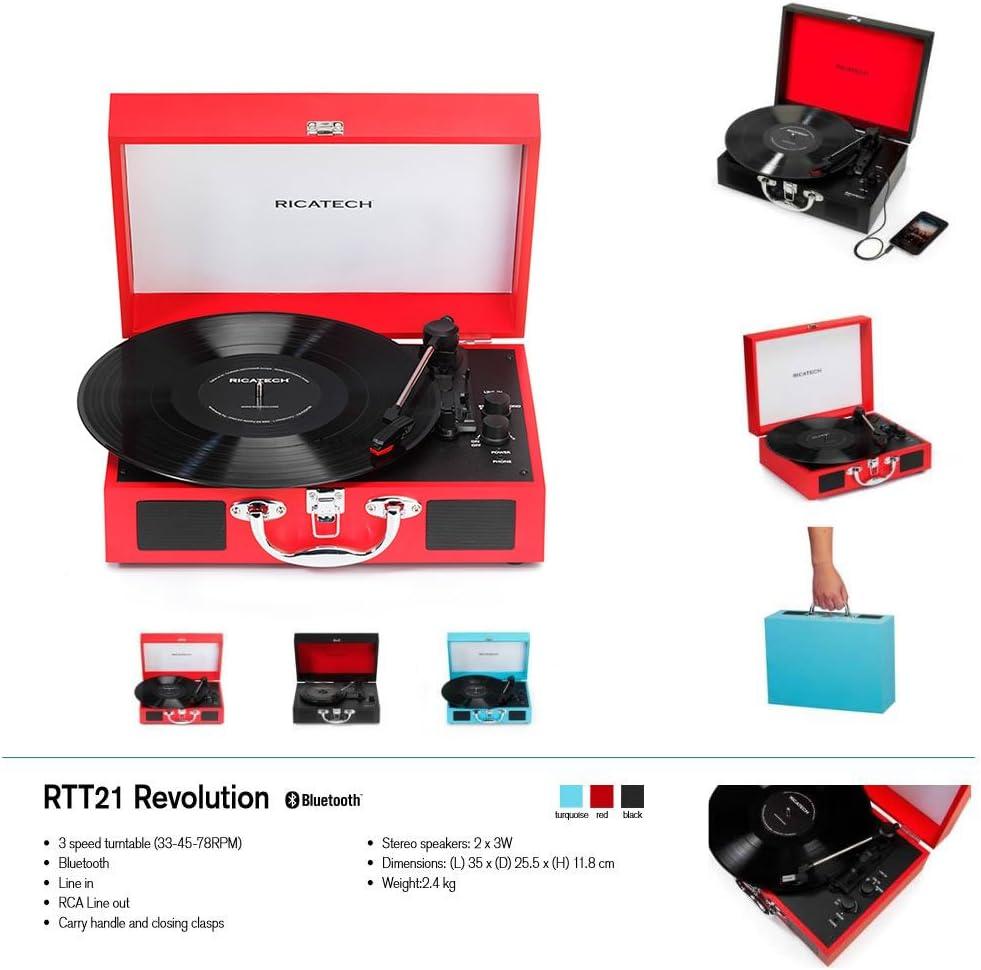 Ricatech RTT21 Tocadiscos, reproductor de discos portátil liviano ...