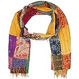 Indian Sari Scarf Patchwork Reversible Kantha Stole Printed Vintage Shawl Scarf