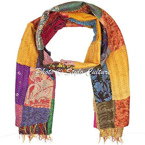 (Indian Sari Scarf Patchwork Reversible Kantha Stole Printed Vintage Shawl Scarf)