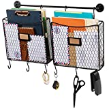 Wall35 Cestino Wall Mounted Metal Wire Baskets with Rail and Hooks - Rustic Design Multi-use Hanging File Folder - Mail Entryway Organizer - Kitchen Utensil Storage - Black