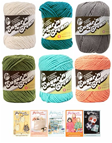 Lily Sugar n' Cream Variety Assortment 6 Pack Yarn Bundle with 5 Patterns 100 Percent Cotton Medium 4 Worsted (Multicolor)