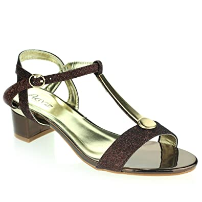 0ccd9cb0721 AARZ LONDON Women Ladies Detail Open Toe Ankle Strap Buckle Fastening Block  Heel Evening Casual Party