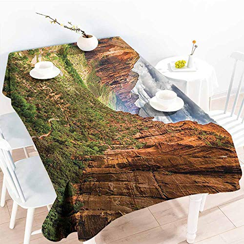 Washable Table Cloth National Parks Home Decor Utah Plateau Mojave Desert Southwest Erosion Native Aztec Artistic Print Brown Green Party W52 xL70