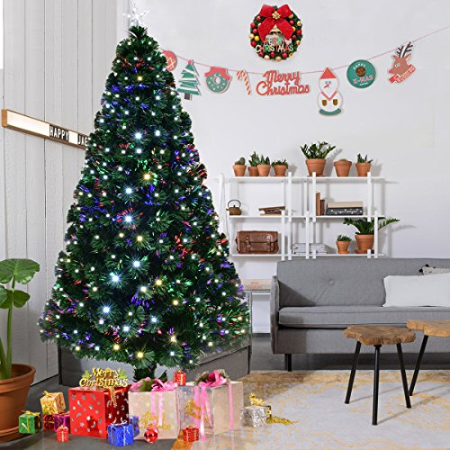 GYMAX 5FT 6FT Fiber Optic Artificial Christmas Tree, Green Xmas Tree with Changing Colour and Top Star (6 FT/ 1.8 M + 230 Tips)