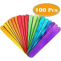 "PAXCOO 100 Pcs 6"" Colored Jumbo Wood Craft Sticks"