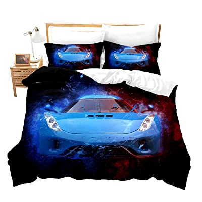Feelyou Race Car Bedding Set Twin Size for Boys Kids Teens Men Speed Sports Car Decorative Extreme Sports Theme Comforter Cover with 1Pillow Shams Zippe Microfiber Blue Automobile Bedspread Cover: Home & Kitchen