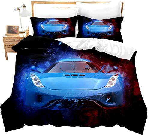 Speed Sports Car Bedding Set for Boys Kids Boys Teens Adult Extreme Sport Theme Bed Set Cool Automobile Yellow Bed Sheet for Bedroom Decor Racing Car Fitted Sheet Double Size
