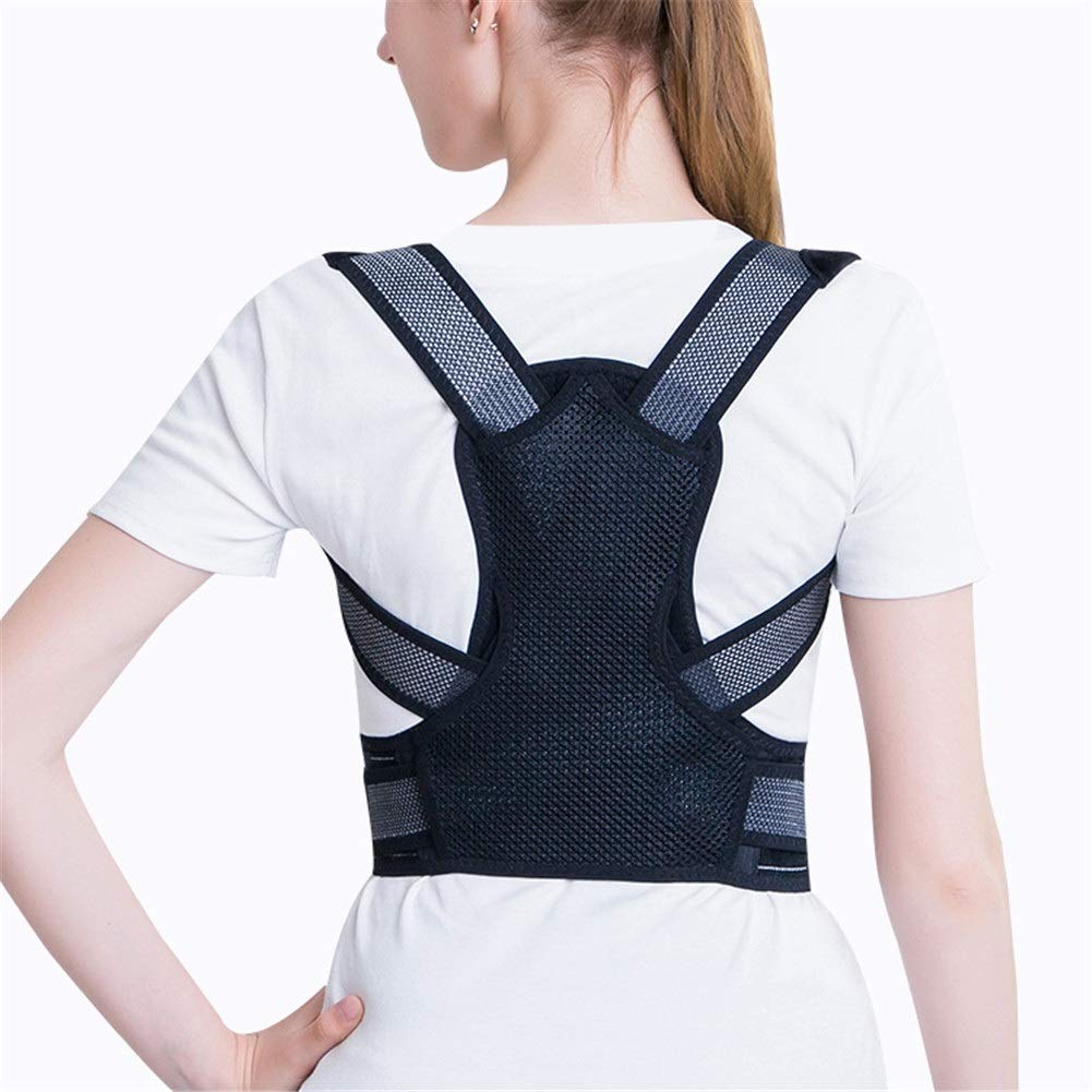 Corrector de postura Adult Children Posture Corrector, Shape The Perfect Body Ergonomic Design Support Brace for Back Shoulder Neck Pain Relief Clavicle (Color : Black, Size : XS45-56cm)