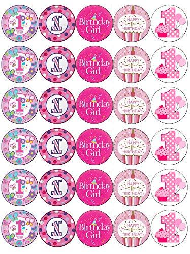 30 obleas comestibles para cupcakes de primer cumpleaños con ...