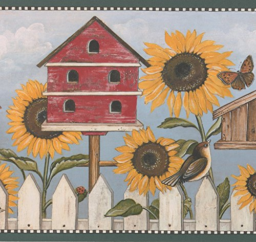 Sunflower Birdhouse Butterfly Bird Rustic Wallpaper Border Retro Design, Roll 15' x 10.25'' ()