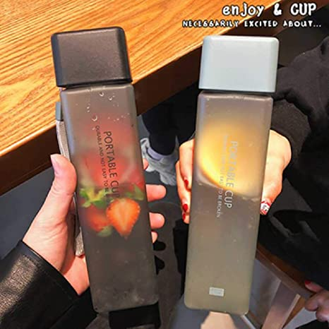 Details about  /1x 500ml Tea Drinking PP Water Camping Transparent Square Frosted Cup Bottle NEW