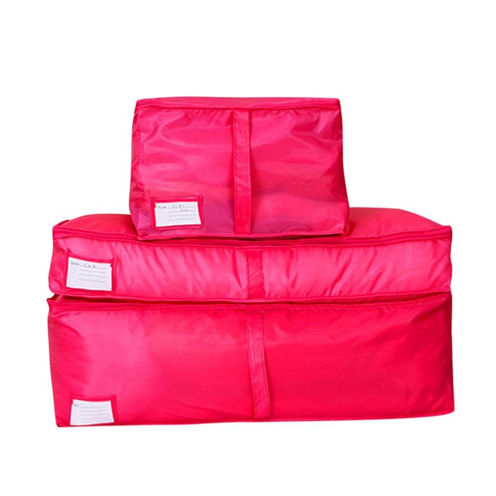 Cinhent Bag 3PCS Clothes Quilt Blanket Bedding Duvet Collection Box,Back To School Zipped Handles Laundry Housekeeping Students Carry Storage Bag (Hot Pink)