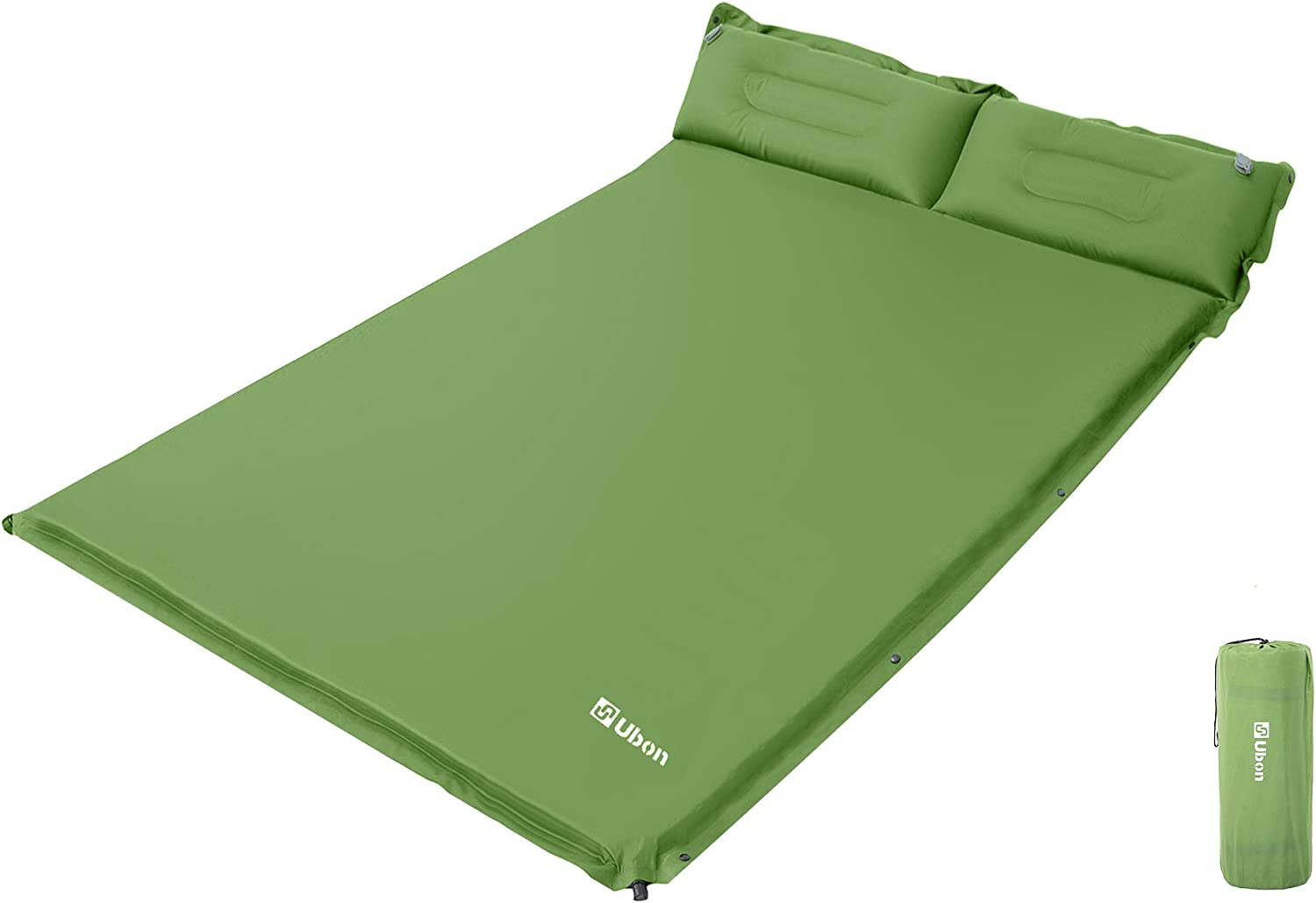 Ubon Double Self-Inflating Sleeping Pad Sleeping Mat for Camping with Pillows Attached Camp Sleep Pad for Backpacking Hiking Air Mattress Lightweight Inflatable & Compact