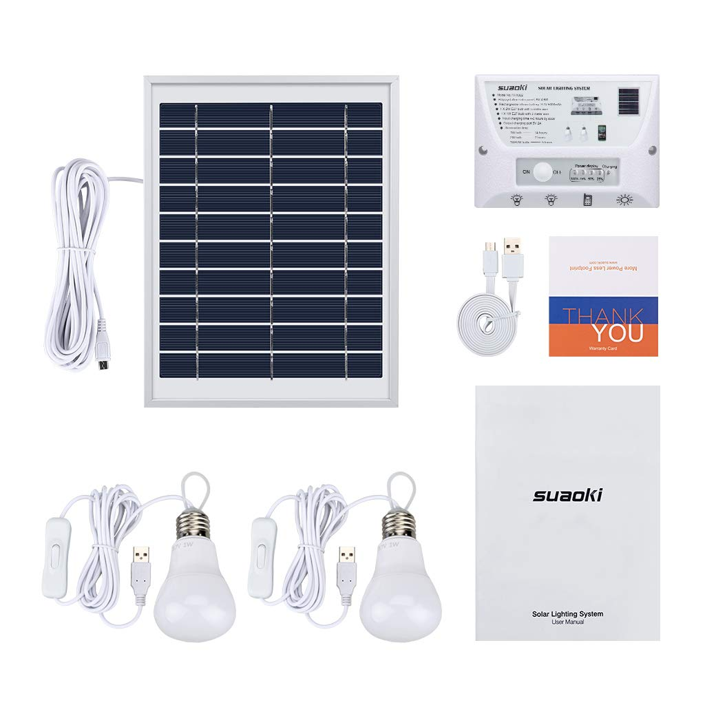 SUAOKI Solar Panel System Lights Kit, Upgraded Portable Home Solar Lights Outdoor Solar Powered Charger with Switch Controller, 2 LED Bulbs, 3 USB Ports for Indoor Outdoor Camping Garage Emergency by SUAOKI (Image #9)