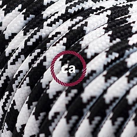 Creative-Cables Cable Eléctrico Redondo Recubierto en Tejido Efecto Seda Bicolor, Negro RP04-5 Metros, 3x0.75