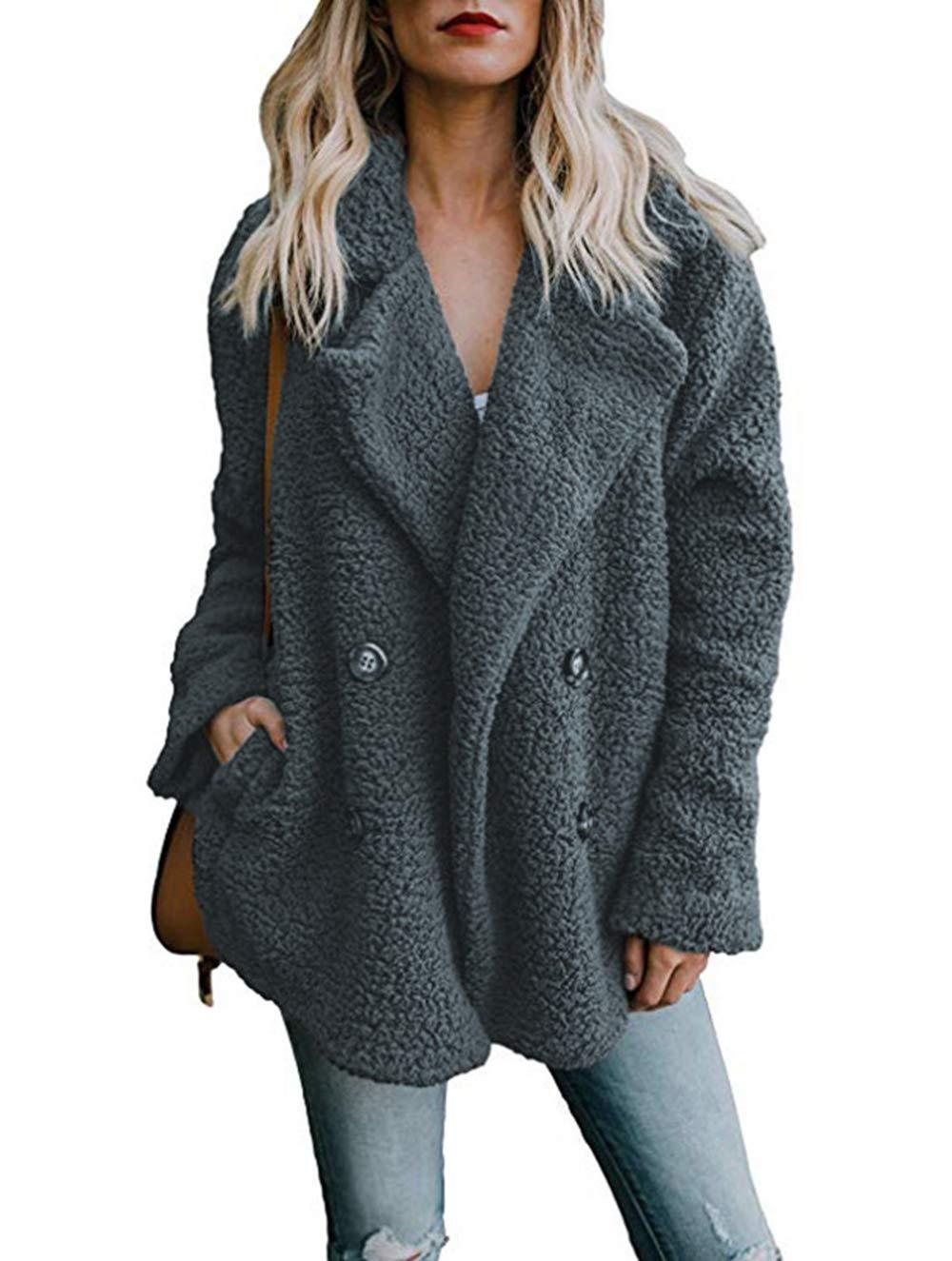 Asskdan Women's Open Front Fuzzy Cardigan Warm Fleece Jacket Coat Long Sleeve Oversized Coat Outwear with Pockets (Dark Grey, L) by Asskdan (Image #1)