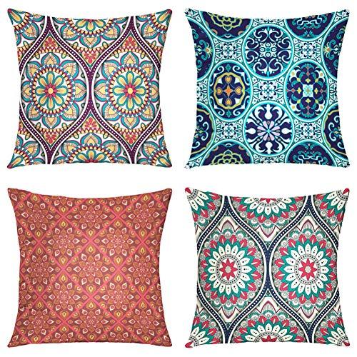 Suesoso Decorative Pillows Case,4 Pillow Set,Ethnic Mandala Ornament Arabic Asian Batik Boho Throw Pillowcovers 20 x 20 inch,Cushion Decorative Home Decor Nice Gift Garden Sofa Bed Car