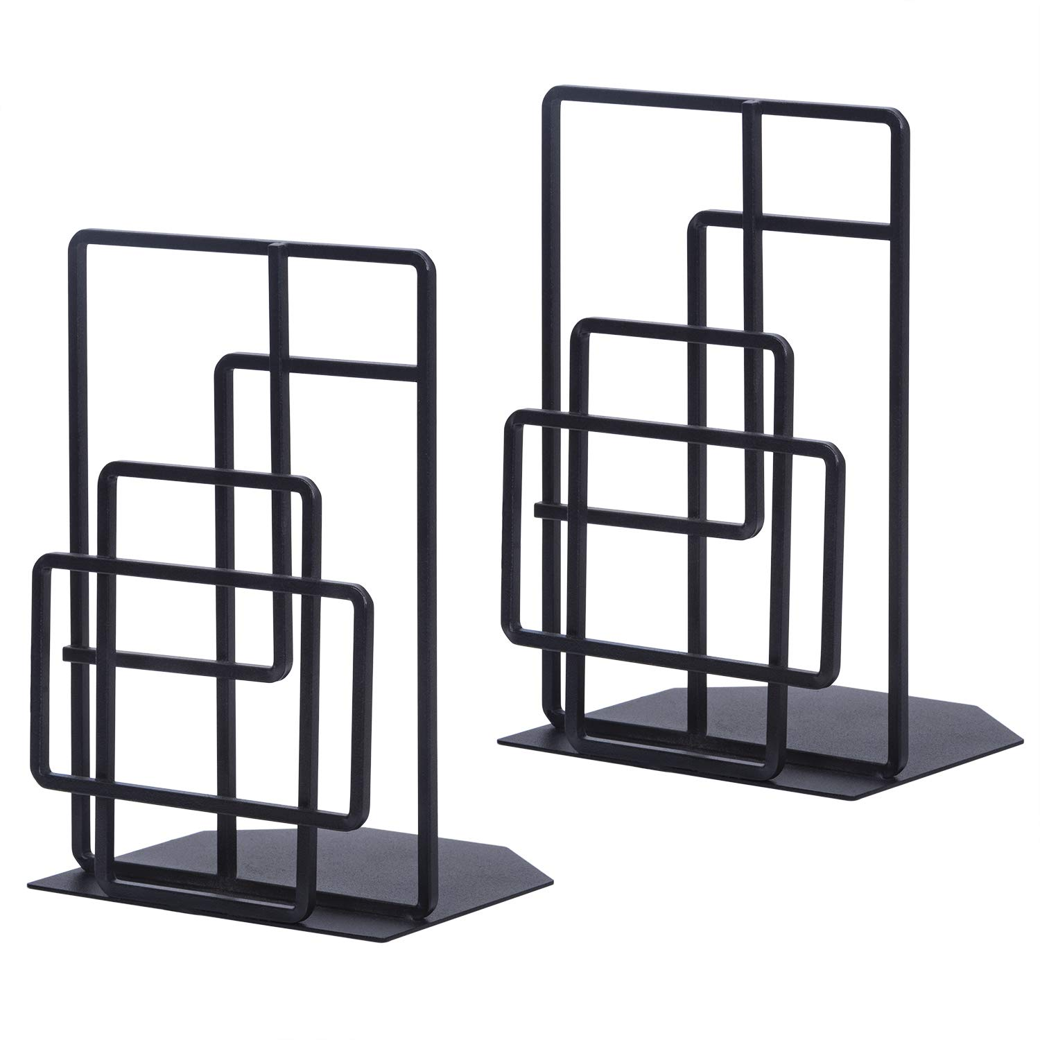 SRIWATANA Book Ends Heavy Duty, Decorative Black Bookends for Shelves