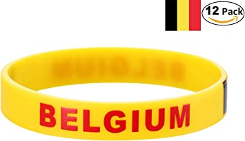 YDT 2018 Copa Mundial de la FIFA Brazalete Deportivo Pulseras de la Bandera Nacional de Silicona para los Fanáticos del Fútbol Bélgica Amarillo (12 Piezas): Amazon.es: Deportes y aire libre