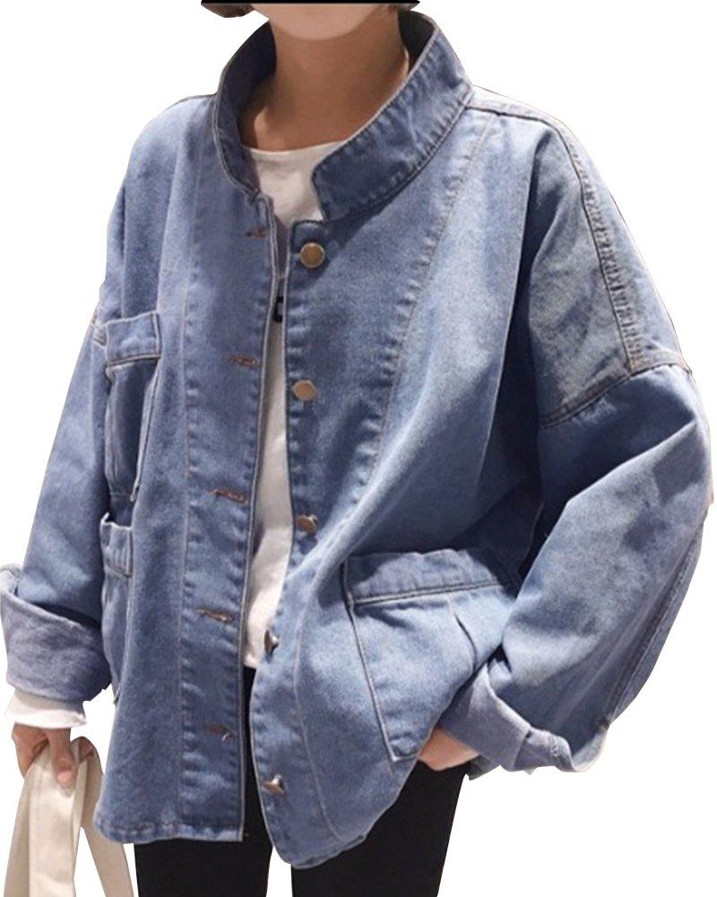 SaiDeng Mujeres Chaquetas De Mezclilla Abrigo Manga Larga Estilo Suelto Denim Jacket