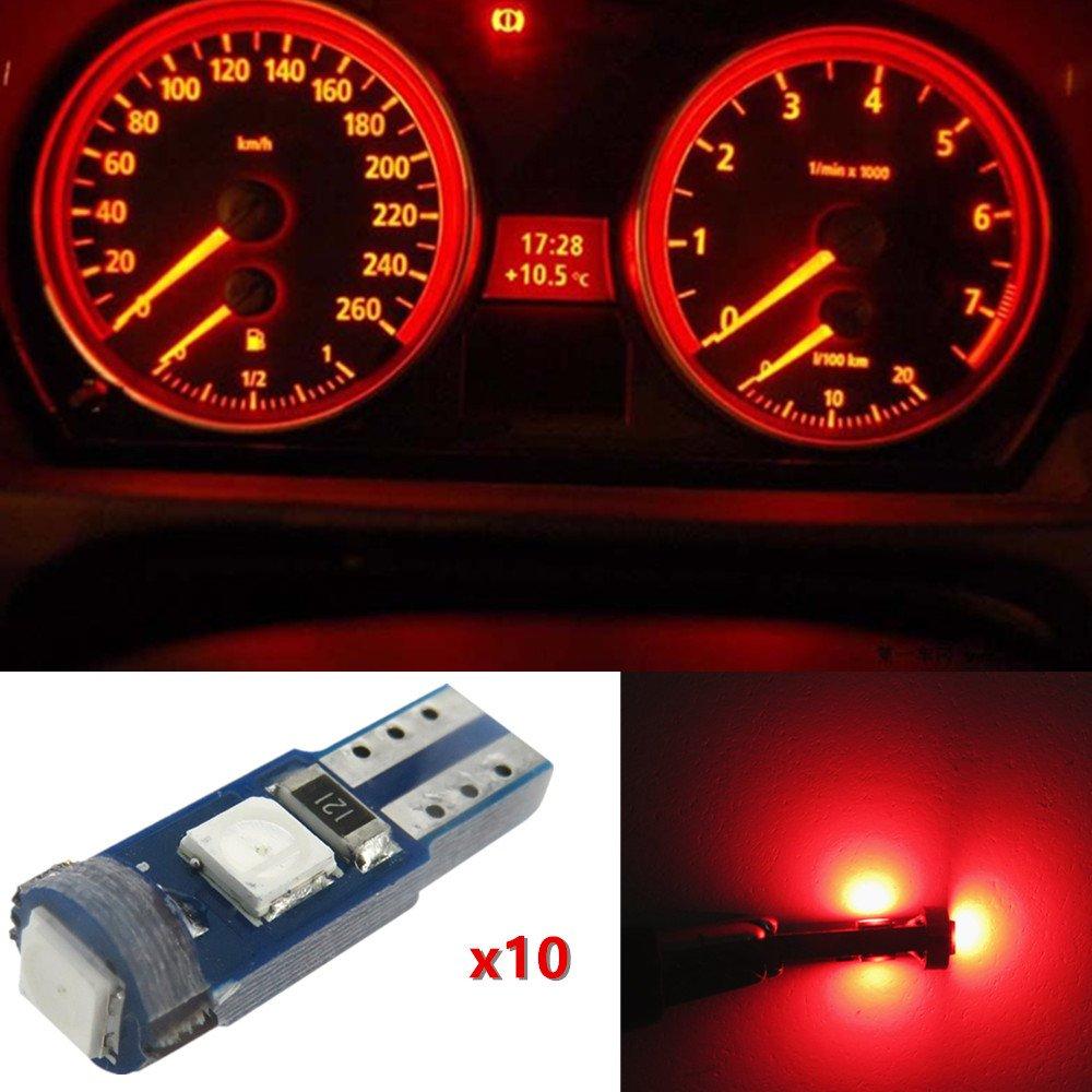 WLJH 10pcs Blue T5 74 2721 Instrument Panel LED Light 73 37 Auto Car Cluster Dashboard Speedometer Indicator Bulbs for BMW Honda Dodge