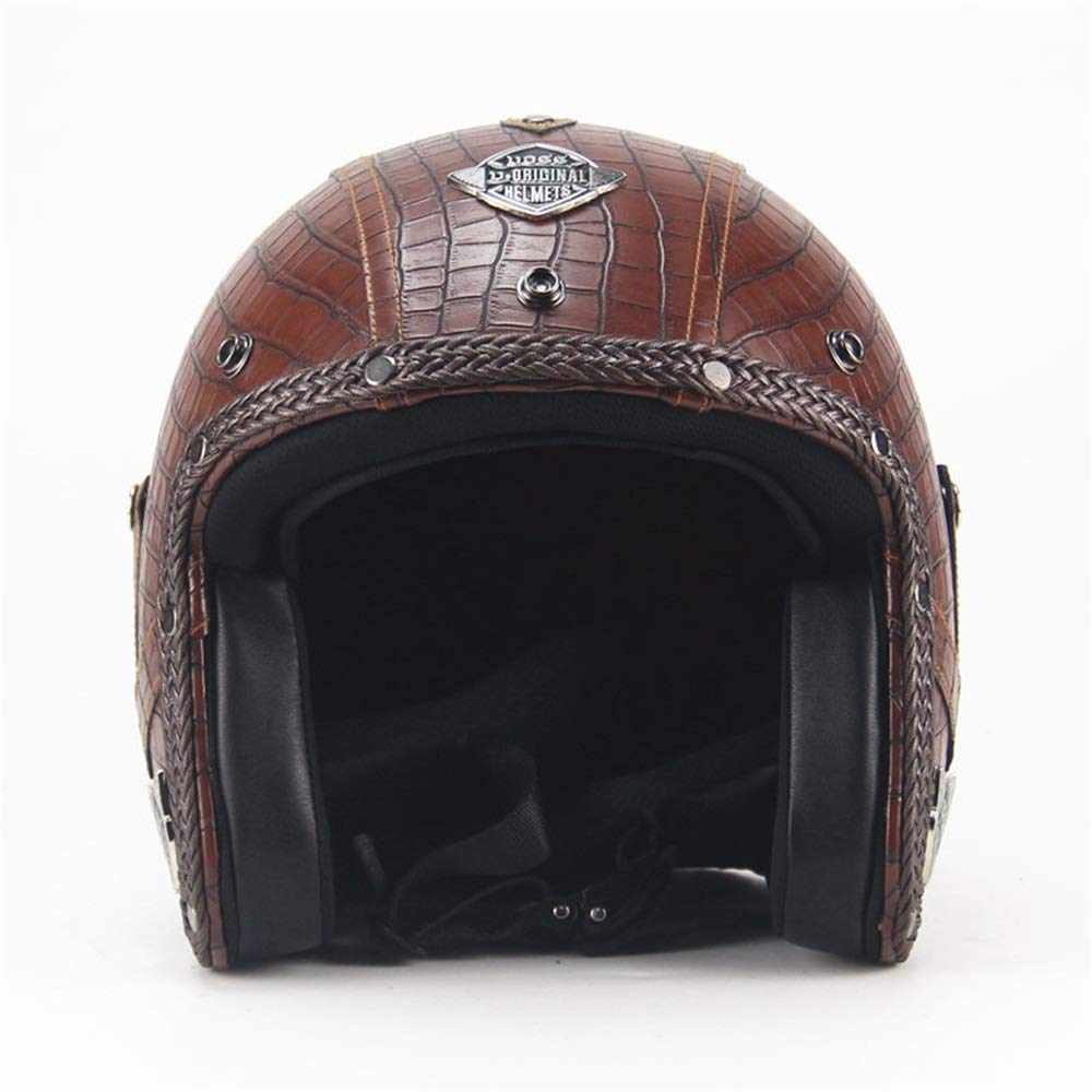 YASULE Casque De Moto Harley en Cuir Vintage /À Motifs De Crocodile Marron,Demi-Casque De Karting De Moto De Locomotive Adulte De Moto,Ensemble Masque//Masque Certifi/é Four Seasons Universal,S:53~56cm