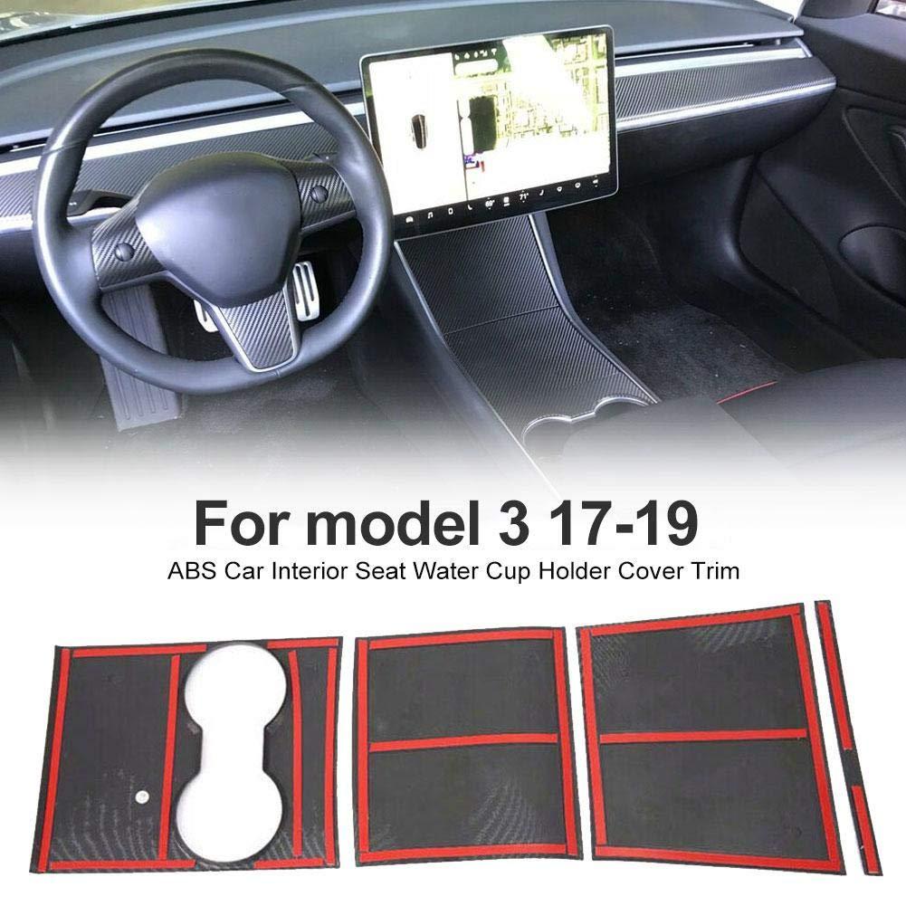 Wapern 4pcs Autocollant De Kit Denveloppe De Console Centrale Accoudoir en Fibre De Carbone Protecteur De Couvercle De Panneau De Commande pour Tesla Model 3
