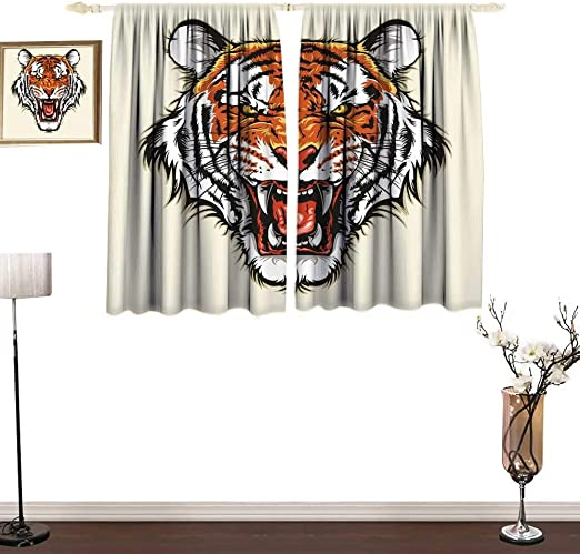 Tiger Decor Cortinas Antiguas con diseño de Calandra Maya, con ...