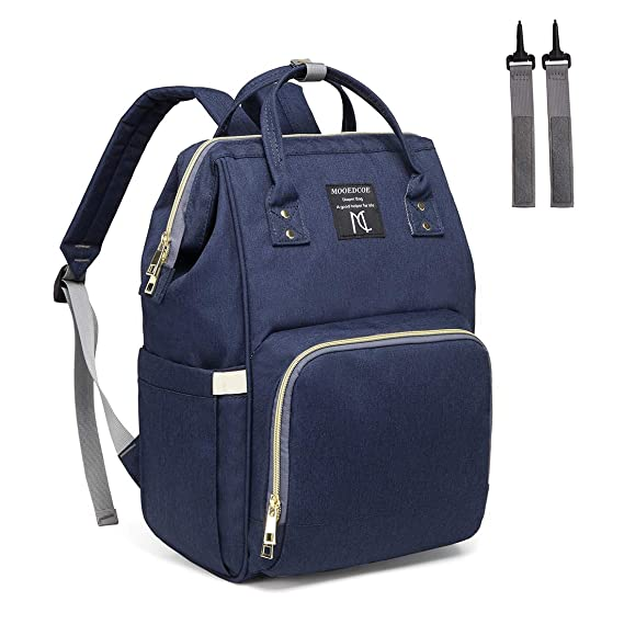 3f97b79ebac32 Mooedcoe Baby Nappy Changing Bag Rucksack Diaper Bag Nappy Changing Backpack  for Mom and Dad (Navy)  Amazon.co.uk  Baby