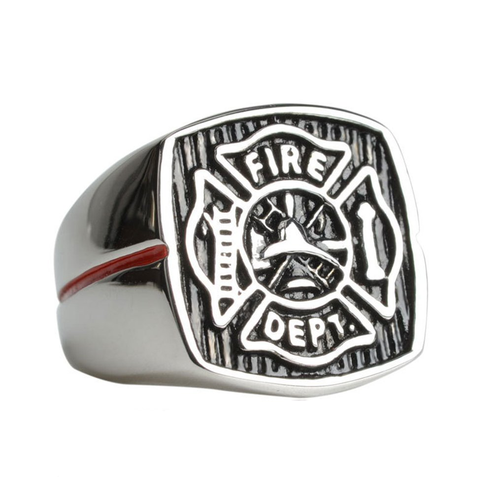 LILILEO Jewelry Stainless Steel Firefighter Fire Department FD Red Enamel Ring For Men's Rings