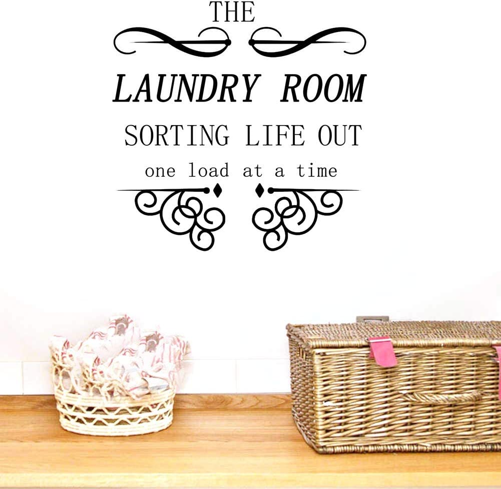 "BIBITIME 17.71"" x 17.71"" The Laundry Room Sorting Life Out One Load at a Time Vinyl Wall Decal Quote Sticker Home Decor Art Mural for Bathroom Tile Toilet"