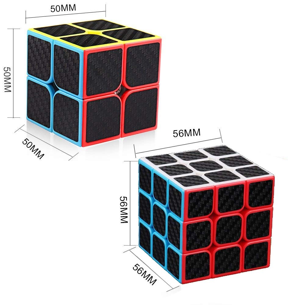 D.F.L Speed Cubes 3D Puzzles Magic Cube 3D Cube Set Rubix Cube Puzzle Cube Carbon Fiber Moyu Cube 2x2 3x3 Smooth Enhanced Version Gift for Kids and Adults by D.F.L (Image #2)