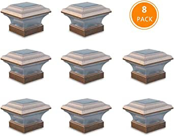 Solar Post Lights Waterproof Outdoor Cap Lights for 4 x 4 Wooden Post, Deck, Patio, Garden, Decor or Fence | Warm White LED Lights, 8-Pack