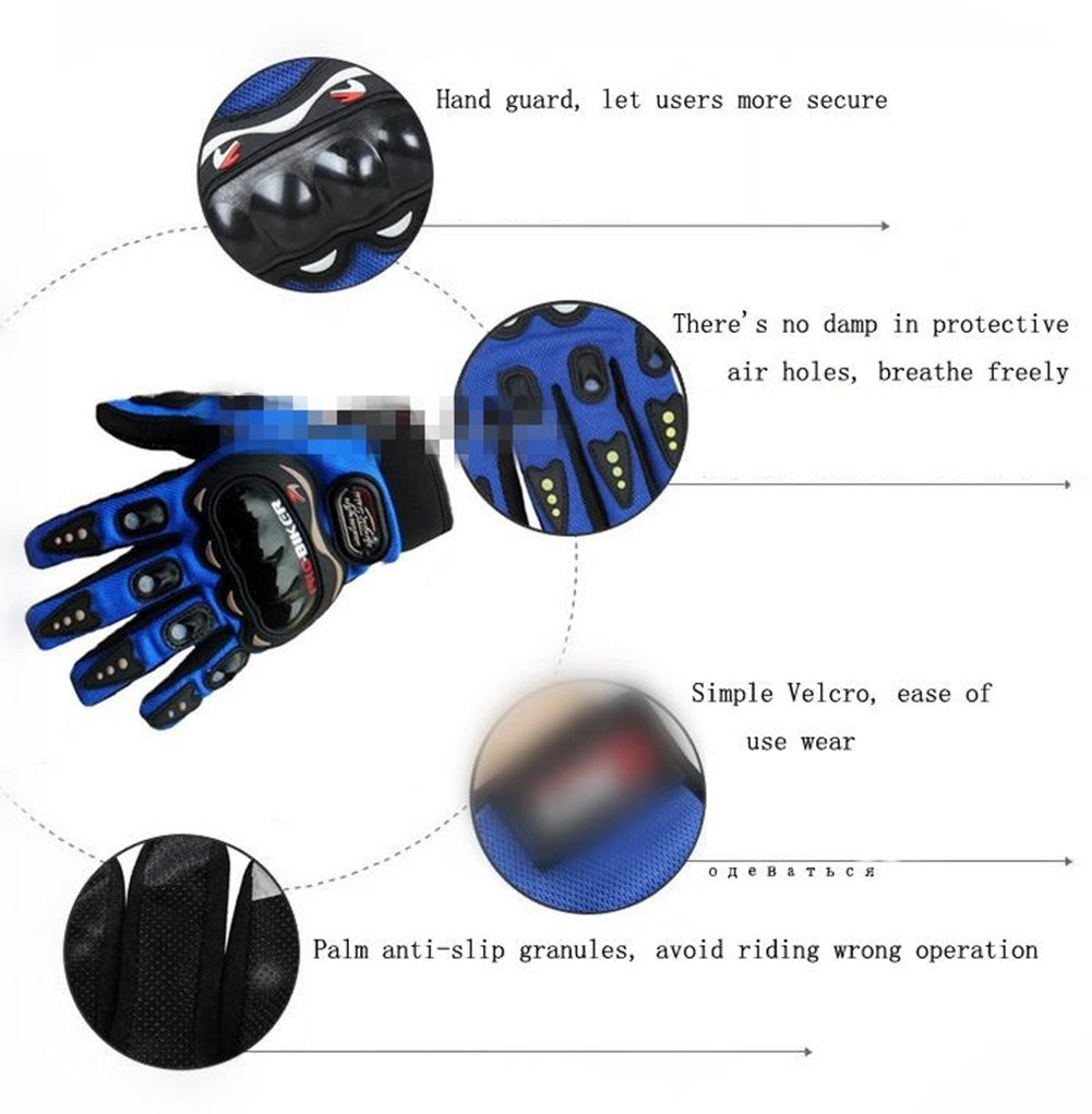 Wonzone Motorbike Protective Carbon Fiber Powersports Off-Road Racing Cycling Motorcycle Full Finger Motocross Motor Gloves (Red, Medium) by Wonzone2161 (Image #3)
