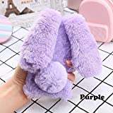 "Soft Rabbit Furry Case for iPhone XR 6.1"",Aoucase Luxury Handmade Fluffy Bunny Faux Fur Plush Diamond Bowknot Shockproof Rubber Cover with Black Dual-use Stylus - Purple"