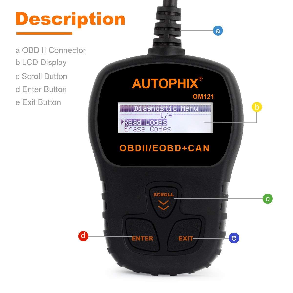 OBDII Lecteur de code de d/éfaut v/éhicule voiture Outil danalyse diagnostic EOBD Code Reader Engine Scanner Read Erase Fault Car Codes