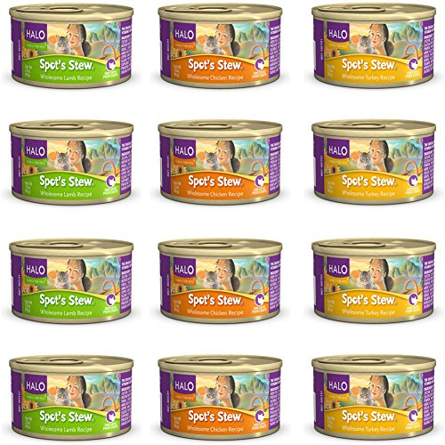 Halo Spot's Stew Grain-Free Canned Wet Cat Food Variety Pack - 3 Ounces - 3 Flavors - Chicken, Turkey, and Lamb (12 Total Cans)