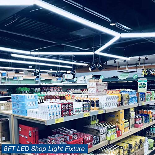 8Ft LED Shop Light Fixture, 72W Integrated LED Tube Light, 7200LM, 6500K, Double Row V Shape 270 Degree Lighting LED Bulbs for Garage Warehouse Workshop Basement, Plug and Play (Pack of 4) by LDSS (Image #4)